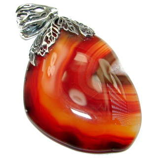 HUGE Rustic Design Botswana Agate .925 Sterling Silver handcrafted Pendant