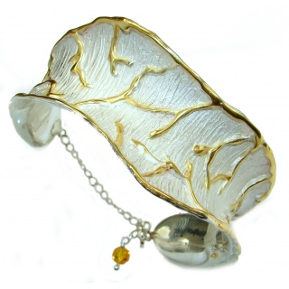 Perfect Harmony White Patina With Gold Accents .925 Sterling Silver handcrafted Bracelet / Cuff