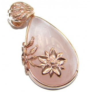 Timeless Beauty Rose Quartz Rose Gold over .925 Sterling Silver handcrafted Pendant