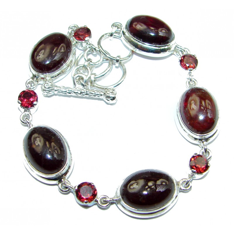 Secret Beauty Rhodolite Garnet .925 Sterling Silver handcrafted Bracelet