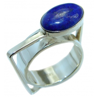 Genuine Lapis Lazuli .925 Sterling Silver handmade Ring size 8