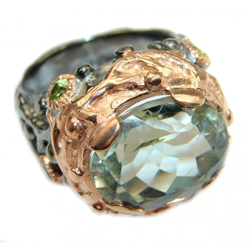 Natural Green Amethyst .925 Sterling Silver handmade Cocktail Ring s. 9
