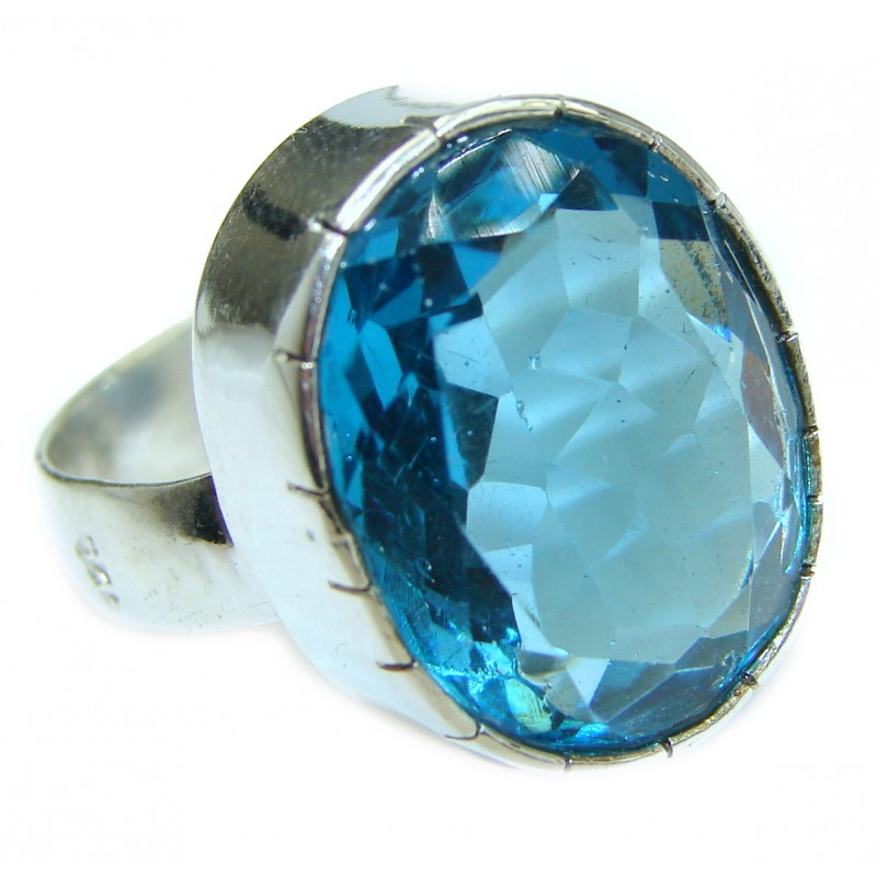 Incredible Blue Quartz .925 Sterling Silver Ring s. 7 3/4