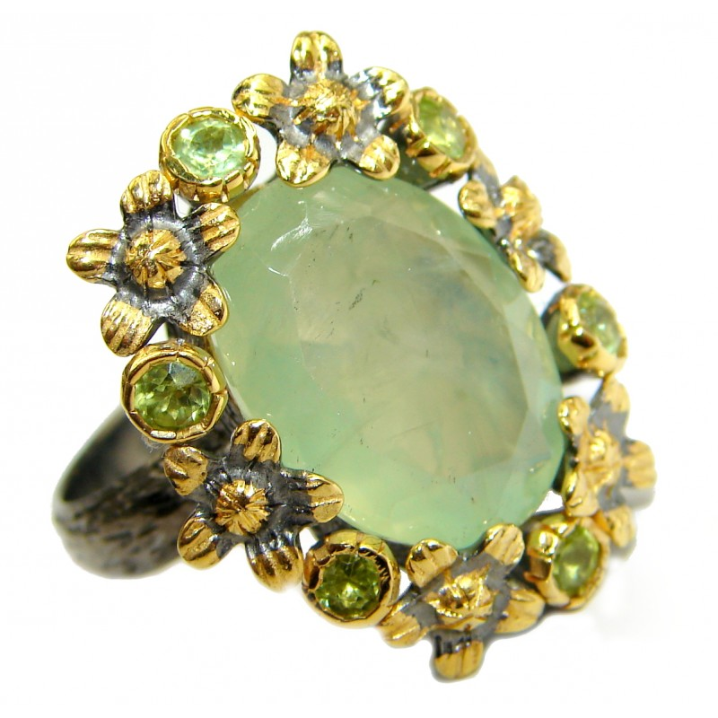 Prehnite 14K Gold over .925 Sterling Silver handmade Cocktail Ring s. 8