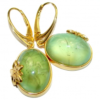 Juicy Authentic Moss Prehnite 14K Gold over .925 Sterling Silver handmade earrings