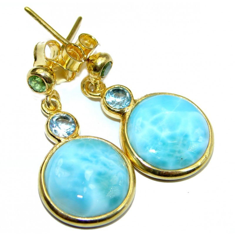 Blue Larimar & Blue Topaz & Peridot Gold Plated Sterling Silver stud earrings