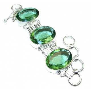 Secret Treasure Mint Quartz .925 Sterling Silver handcrafted Bracelet