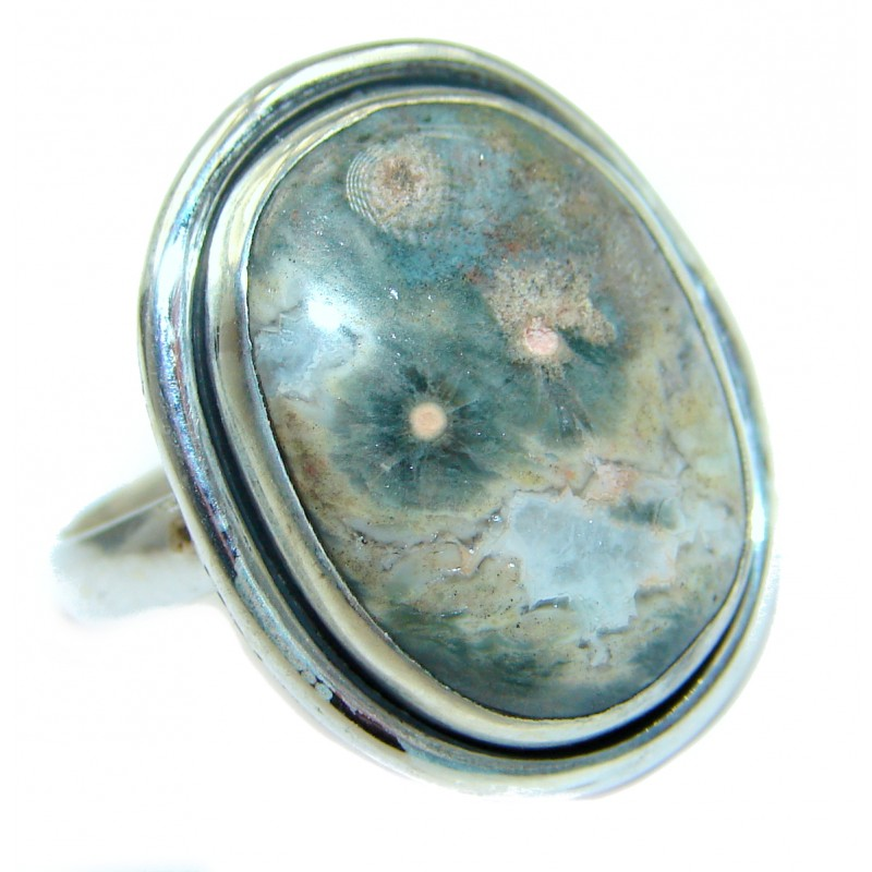 Ocean Jasper .925 Sterling Silver handmade Cocktail Ring s. 5 3/4
