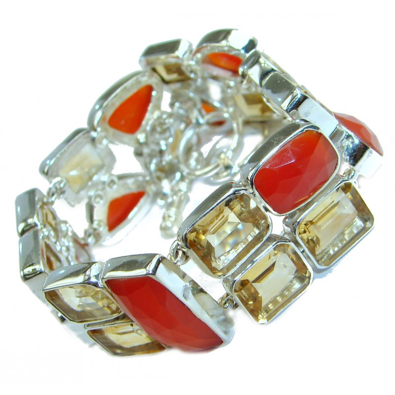 Sunset in Tuscon Authentic Carnelian .925 Sterling Silver handmade Bracelet