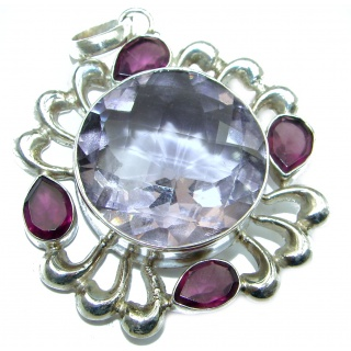 Pink Beauty LiLAC Quartz .925 Sterling Silver handcrafted Pendant