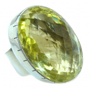 Genuine Large Citrine .925 Sterling Silver handmade Ring s. 7 1/4