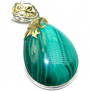 Top Quality Malachite two tones .925 Sterling Silver handmade Pendant