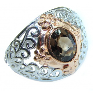 Vintage Style Smoky Topaz .925 Sterling Silver handmade Cocktail Ring s. 7 1/4