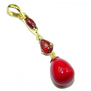 Red Fossilized Coral Gold over .925 Sterling Silver handmade pendant