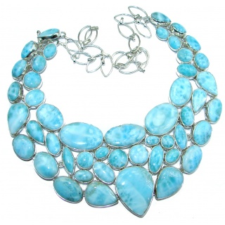 Cielito Lindo Chunky Larimar .925 Sterling Silver handcrafted necklace