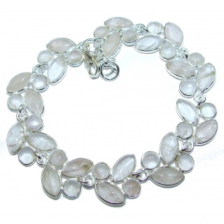 Natural Rose Quartz .925 Sterling Silver handmade Bracelet