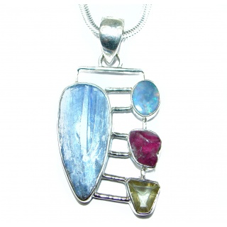 Luxury Larimar Kyanite .925 Sterling Silver handcrafted necklace