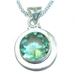 Genuine green Quartz .925 Sterling Silver handmade necklace