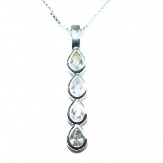 Huge Victorian 234 ct White Topaz .925 Sterling Silver necklace