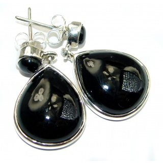 Just Perfect Black Onyx .925 Sterling Silver HANDCRAFTED earrings