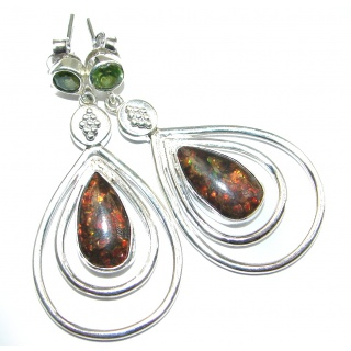 Large Green Aura AAA+Canadian Fire Ammolite Sterling Silver handmade earrings