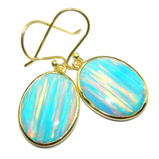 Luxury Japanese Fire Opal 14K Gold over .925 Sterling Silver handmade earrings