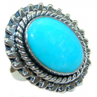 Genuine Sleeping Beauty Turquoise .925 Sterling Silver Ring size 8 adjustable