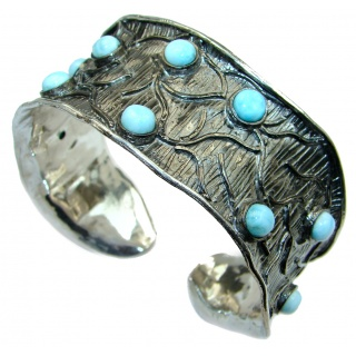 Genuine Blue Larimar Black Rhodium over .925 Sterling Silver handmade Bracelet Cuff