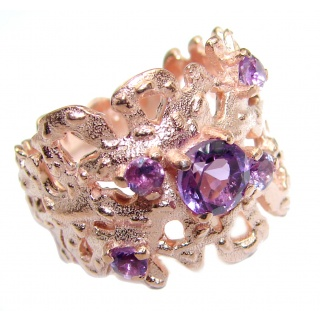 Natural Amethyst Gold over .925 Sterling Silver handmade Cocktail Ring s. 8