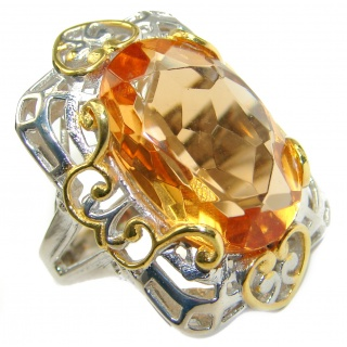 Golden color Quartz Topaz two tones .925 Sterling Silver handcrafted Ring s. 6 1/4
