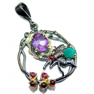 Rich Design Natural Amethyst .925 Sterling Silver handmade Pendant