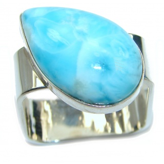 Blue Treasure Larimar .925 Sterling Silver handmade ring s. 9