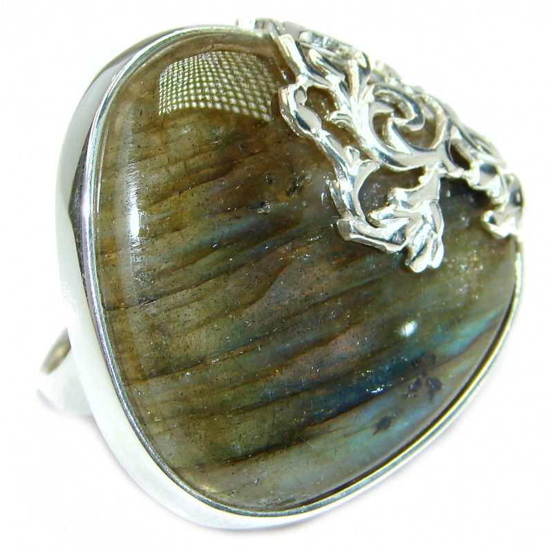 Large Fire Labradorite .925 Sterling Silver handmade ring size 7 1/4