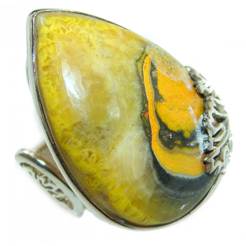 Vivid Beauty Bumble Bee Jasper .925 Sterling Silver ring s. 8 adjustable