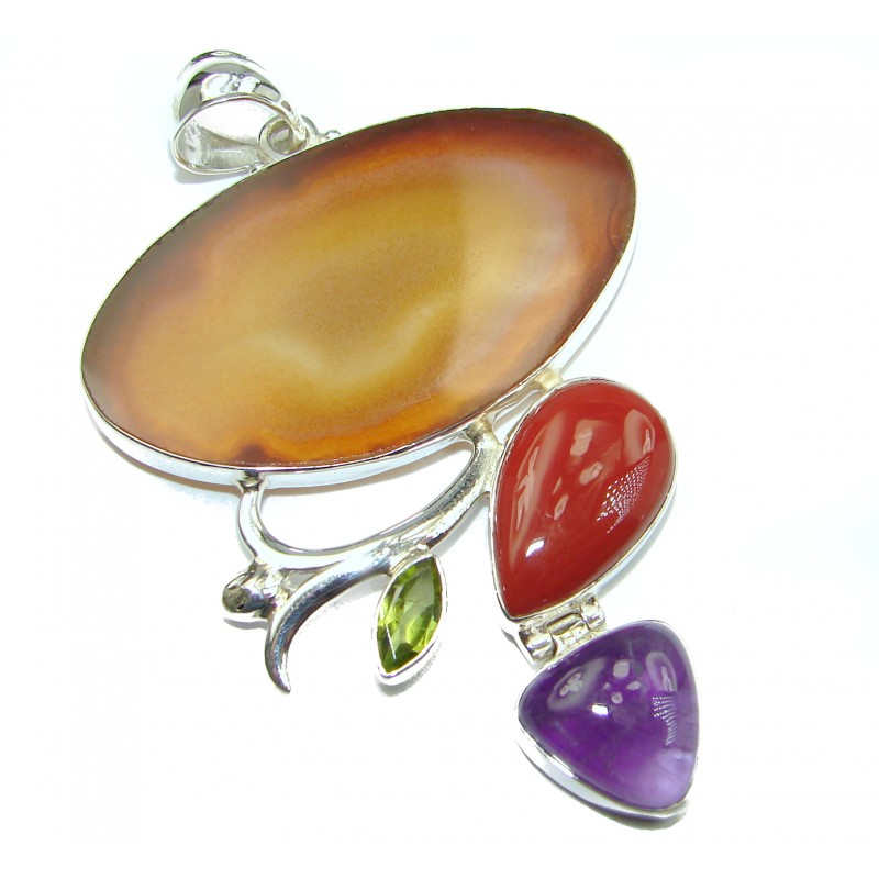 Perfect quality Botswana Agate .925 Sterling Silver handmade Pendant