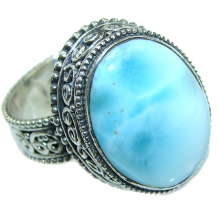 Blue Treasure Larimar .925 Sterling Silver handmade ring s. 9 1/4