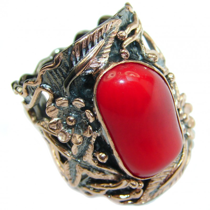 Natural Fossilized Coral 14K Gold over .925 Sterling Silver handmade ring s. 8 1/4
