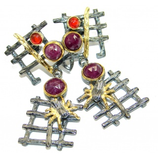 Trendy Ruby Gold Rhodium over .925 Sterling Silver handmade earrings