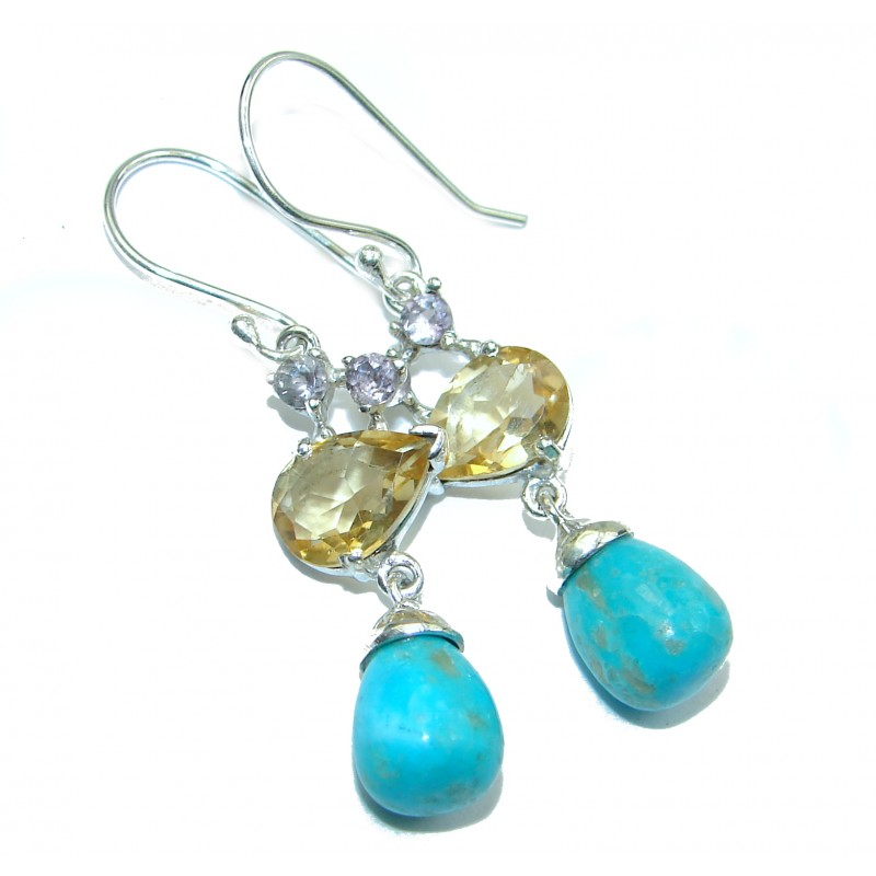 Genuine Sleeping Beauty Turquoise .925 Sterling Silver handmade earrings