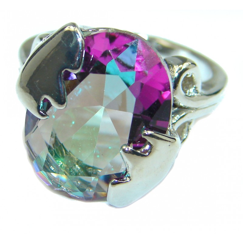 Exotic Magic Topaz .925 Sterling Silver handcrafted Ring s. 5 1/4