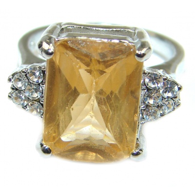 Genuine Large Citrine .925 Sterling Silver handmade Ring s. 6 3/4
