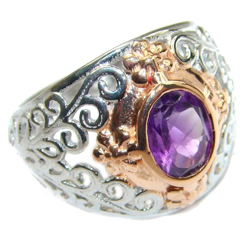 Natural Amethyst .925 Sterling Silver handmade Cocktail Ring s. 6 1/4