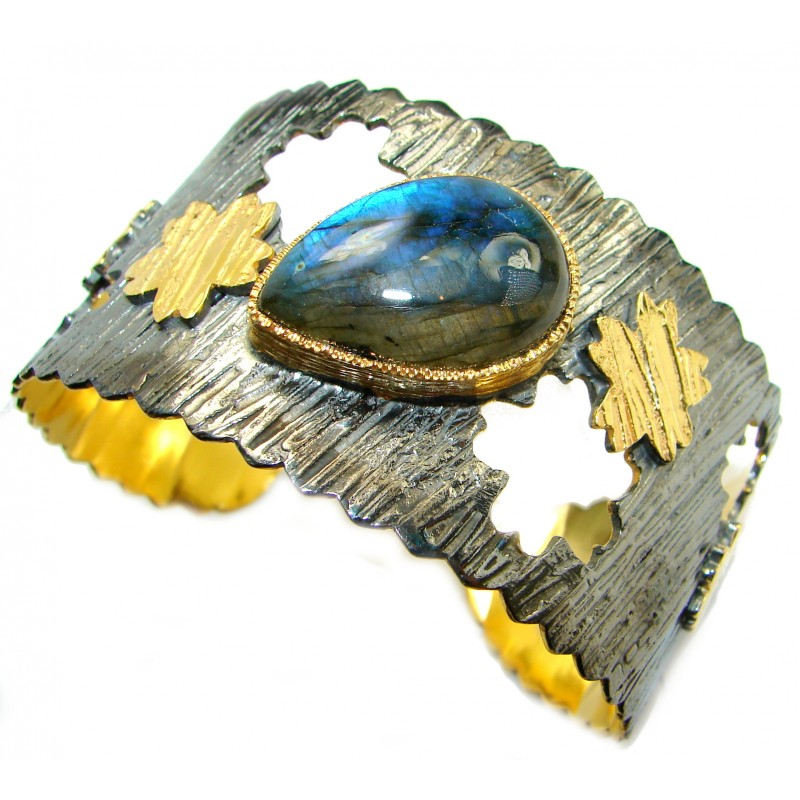 Unique Design Fire Labradorite 18K Gold Rhodium over .925 Sterling Silver handmade Bracelet / Cuff