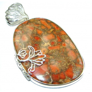 Turquoise with Copper vains .925 Sterling Silver handcrafted Pendant