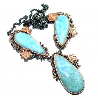 Ocean Halo genuine Larimar 14 K Gold Rhodium over .925 Sterling Silver handmade necklace