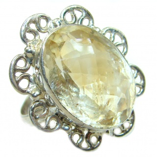 Genuine Large Citrine .925 Sterling Silver handmade Ring s. 7