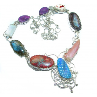Big Fashion Design Genuine Opal .925 Sterling Silver handcrafted necklace