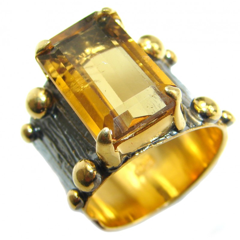 Natural 25 ct. Citrine 14K Gold over .925 Sterling Silver handcrafted Ring s. 7 1/2