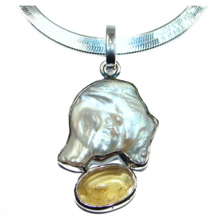 Natural Mother of Pearl .925 Silver HANDMADE Necklace