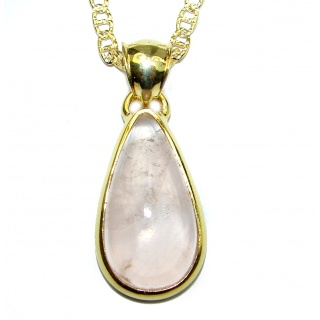 Fine Art Genuine Rose Quartz .925 Sterling Silver handmade necklace